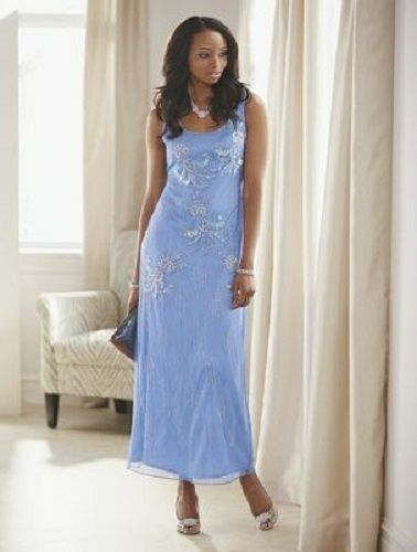 size 16 Light Blue Beaded Formal Gown Dress Wedding Pagent Cruise by Ashro new