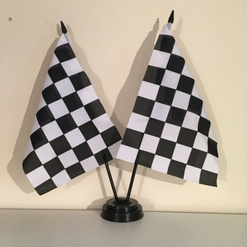"""BLACK AND WHITE CHECKERED TABLE FLAG TWIN SET 9X6/"""" 22.5cm x 15cm MOTOR SPORT"""