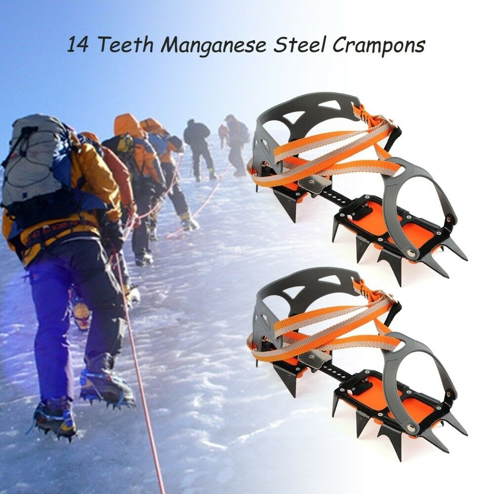 14 Teeth Ice Snow  Crampons Anti-slip Climbing Gripper shoes Covers Spike Cleats  on sale