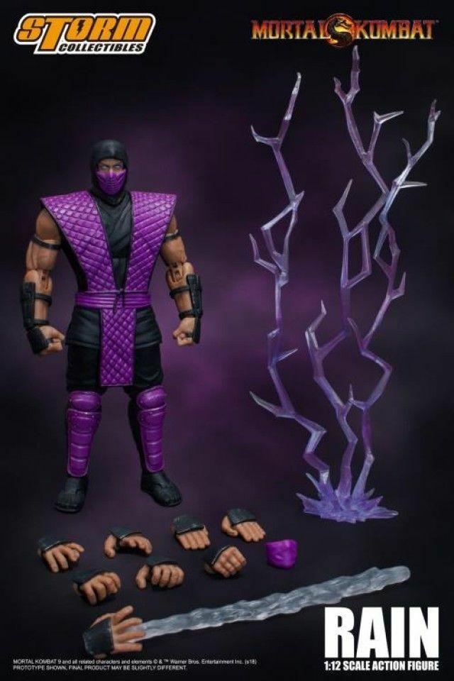 popular Storm Juguetes 1 12 12 12 Mortal Kombat púrpura Ninja lluvia Coleccionables Pvc Figura Modelo  saludable