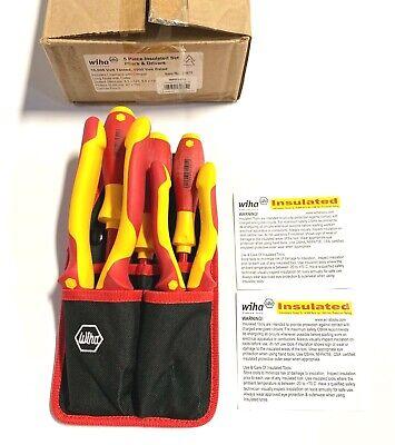 Wiha 32985 7 Piece Insulated Industrial Pliers//Cutters//Drivers Belt Set