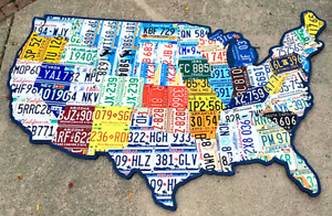 License Plate Map of the USA Huge 8 Foot Size OOAK United States