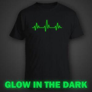 Black Funny Glow In Dark T Shirt Heartbeat Heart Beat Ebay