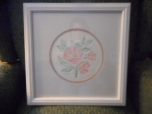 Floral Embossed Watercolor matted and framed in white by Patricia Hagstrom