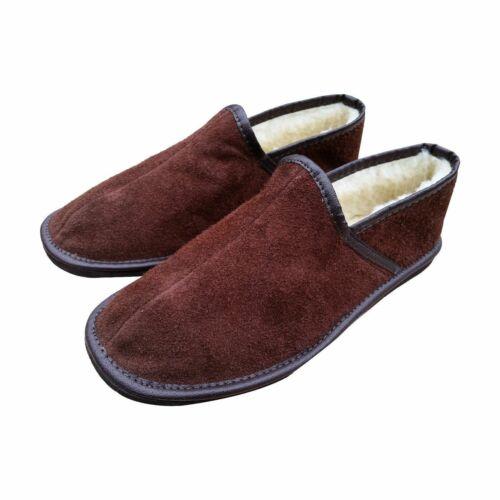 Men/'s Sheepskin Wool Brown Leather Slippers Shoes Size 7 8 9 10 11 12 13 Luxury