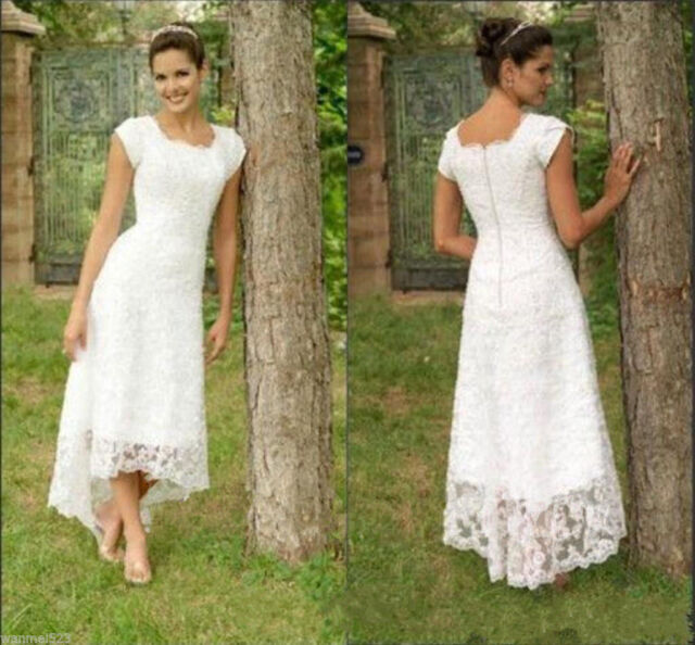 Cap Sleeve Wedding Dresses: Cap Sleeve Tea Length Bridal Gown White Ivory Short