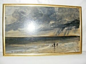VINTAGE-THOMAS-O-039-DONNELL-IMPRESSIONIST-OIL-PAINTING-OF-A-SEASCAPE-STORMY-SIGNED