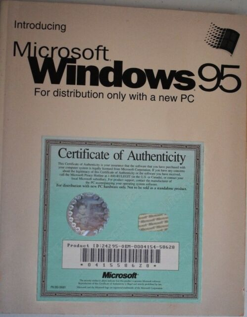 Introducing Microsoft Windows 95 Manual With Certificate Of