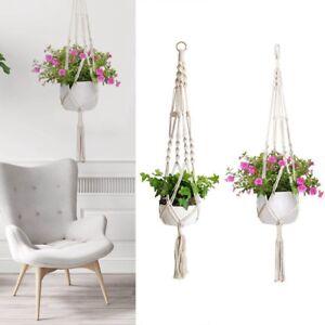 2X-Garten-Geflochtenes-Seil-Makramee-Blumenampel-Blumen-Topfhalter-Pflanzen-Spass