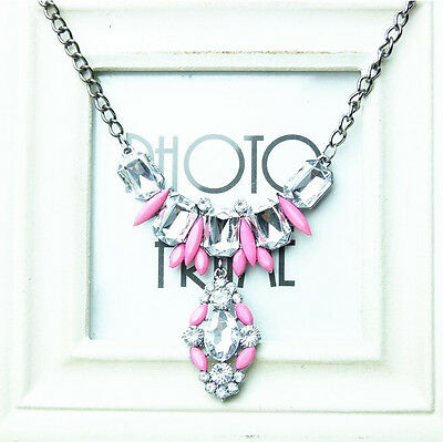New Fashion Women's Chain Crystal Statement Bib Chunky Collar Pendant Necklace