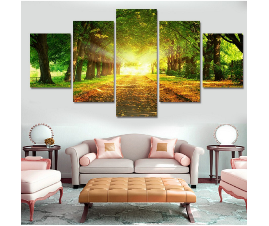5 Piece Avenue Of Trees Landscape Painting On Canvas Print Home Decoration