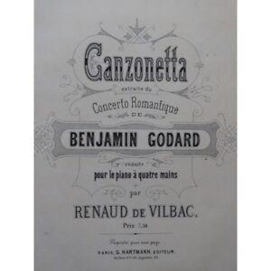Ca1880 Trennwand Sheet Music Score Godard Benjamin Canzonetta Piano 4 Hand Musikinstrumente
