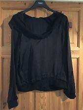 BNWT MAYSAA Ladies Pretty Black Satin/Sheer Hooded Long Sleeved Top Size 12