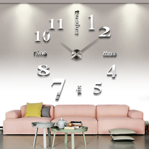 Wall-Clock-Deco-Mirror-Wall-Decal-3D-Design-Wall-Clock-Living-Room-XXL-Silver