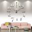 Wall-Clock-Deco-Mirror-Wall-Decal-3D-Design-Wall-Clock-Living-Room-XXL-Silver miniature 1