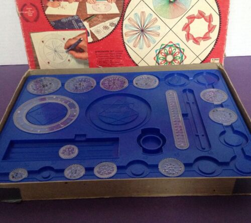 Vintage Kenner Spirograph Drawing Set 401, 1967 Blue Tray not complete