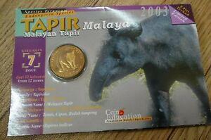 2003-Malaysia-endangered-animals-No-7-Malayan-Tapir-Malaya-BU-coin-card-1-pc