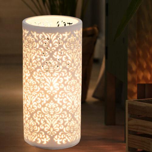 Design Tisch Leuchte Beistell Wohn Zimmer Dekor Muster weiß Porzellan Lampe