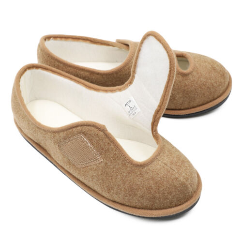 Lady Women Extra Wide Edema Slippers Adjustable Comfort Non Skid House Shoes