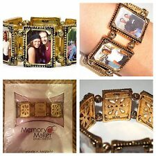 "Memory Maker Photo Bracelet M-0311 SMALL 6.5"" Square Frames Antique Gold NIP"