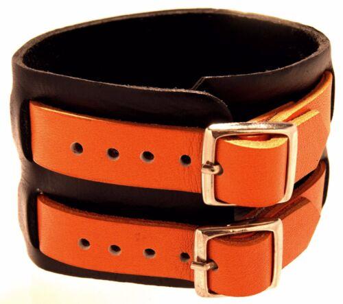 Bracelet cuir Surfer Noir Orange Bracelet En Cuir surferamband Véritable Cuir Harley