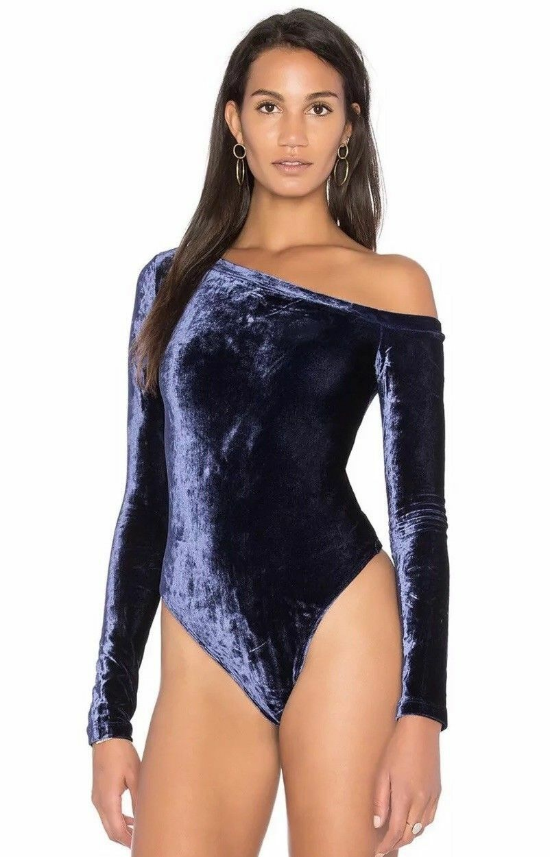 NWT GBTSO Getting Back to Square One The Velour One Shoulder Bodysuit Small S