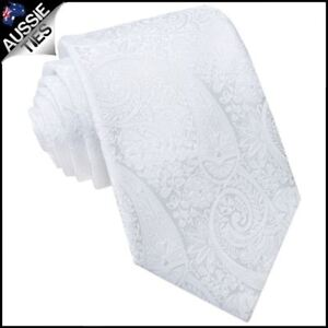 White-Paisley-Mens-Tie-Men-039-s-Patterned-Tie-Men-039-s-Necktie