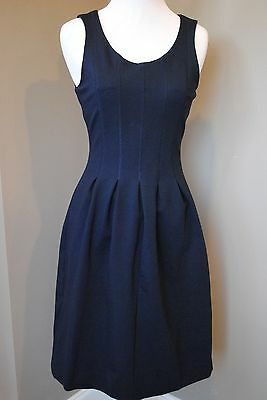 NEW J Crew Pleated Flare Dress in NAVY Sz 2 XS A5434 $128 DEFECT