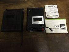 Vintage Sony TC-92 Cassette Corder Recorder Tape Deck Portable With Case. Manual