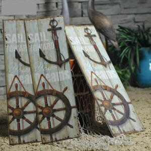 US-Vintage-Anchor-Picture-Nautical-Decor-Rustic-Wooden-Sign-Plaque-Home-Wall