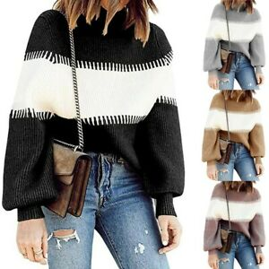 Women-Knitted-Color-Block-Sweater-Ladies-Long-Sleeve-Jumper-Pullover-Topss-UK
