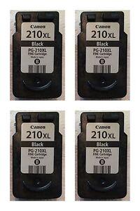 Four-4-Virgin-Canon-Pixma-PG-210XL-Empty-Used-Black-Ink-Jet-Cartridges-Tank