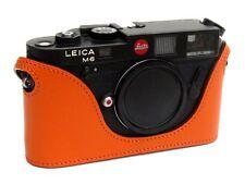 Leather Half Case for Leica M6, M7, MP, M3  (Burnt Orange with orange stitching