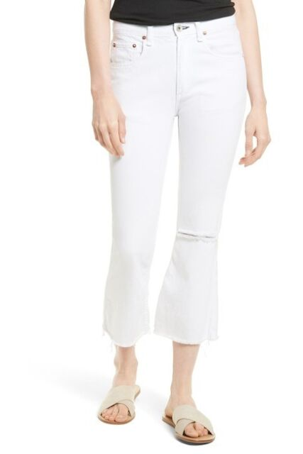 2e136c4b544 NWT Rag   Bone JEAN Marilyn High Waist Crop Flare Jeans White WOMEN SIZE 30