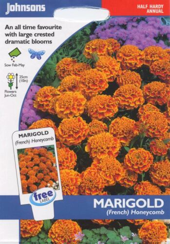Johnsons Pictorial Pack French Flower Honeycomb 60 Seeds Marigold
