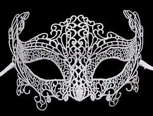 Maschera Di Venezia IN Pizzo Di Burano-Lupo Zibetto Carnevale- Bianco Madre 336