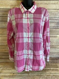 Womens-The-North-Face-Long-Sleeve-Button-Down-Shirt-Size-XL-Pink-Plaid-L-S-Top