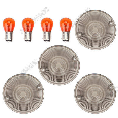 4pcs Turn Signal Light Lens Cover with Bulbs for Harley Davidson Electra Glides