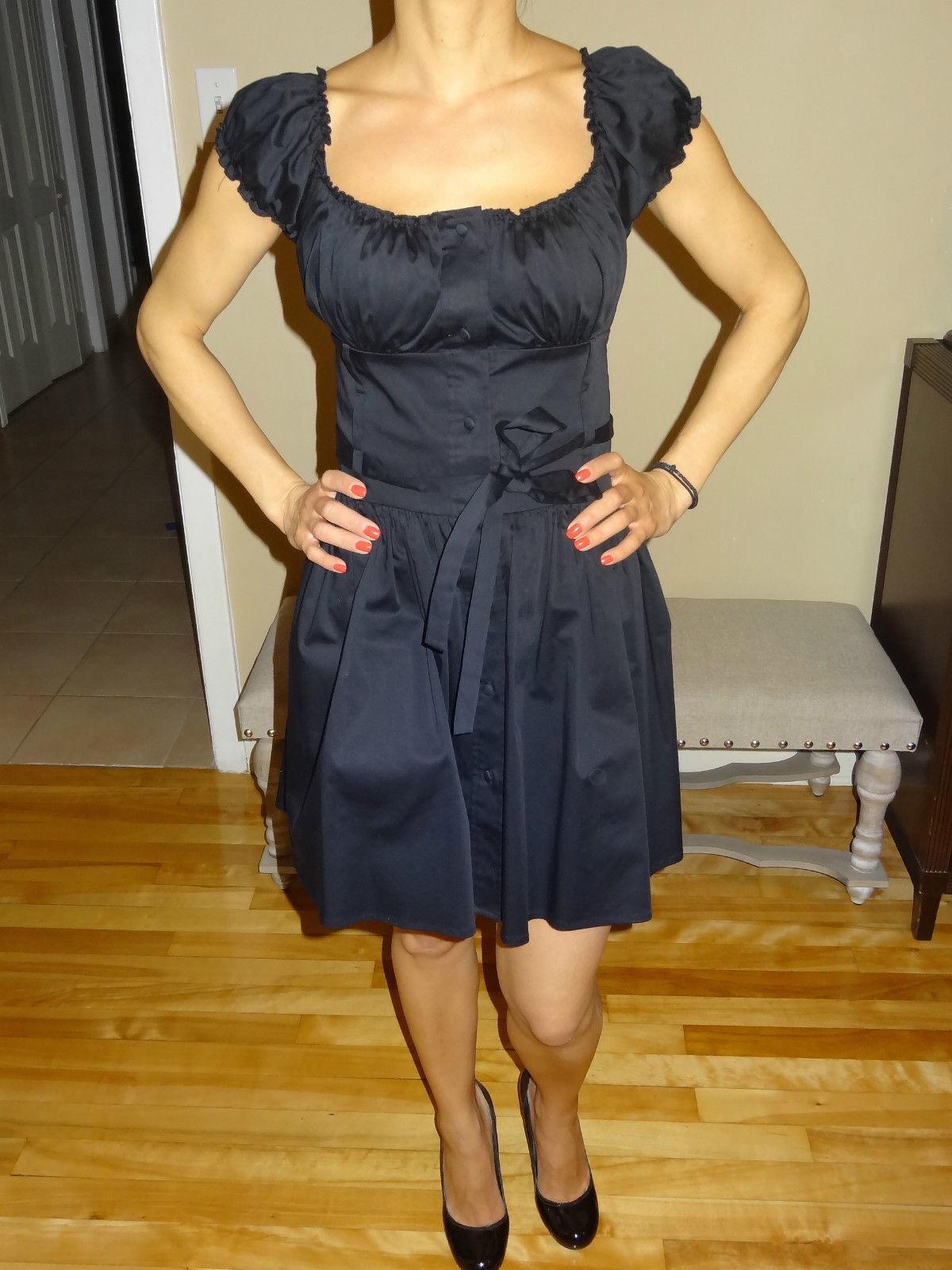 MARCIANO schwarz Dress Cap Sleeve Button down closure XS