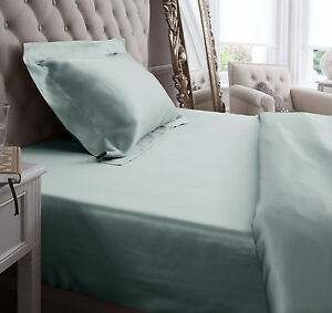 Image Is Loading Jasmine Silk Pure Silk Fitted Sheet Duck Egg