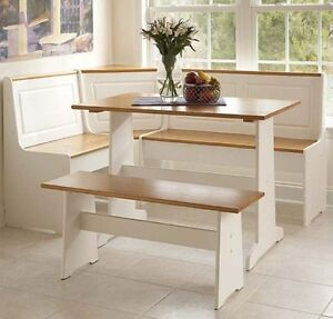 Details about White Kitchen Corner Nook Set Breakfast Table Bench 3 Pc  Booth Dining Room Pine