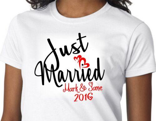 PERSONALIZED JUST MARRIED HONEYMOON T SHIRT CUSTOM COUPLE WEDDING SHIRTS