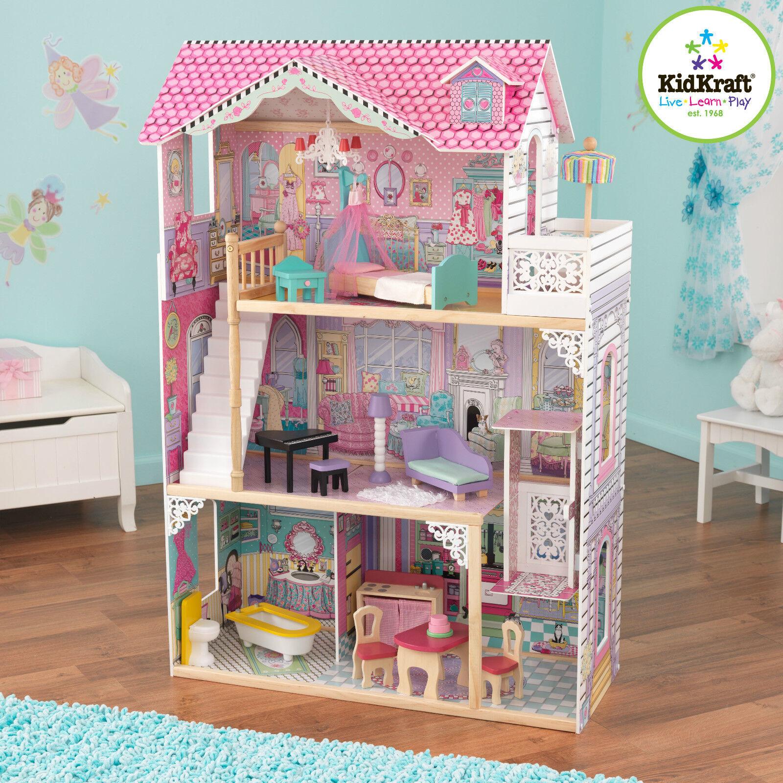 KidKraft Annabelle Casa Delle Bambole, grande casa di bambola di legno con Lift si adatta Bambola Barbie