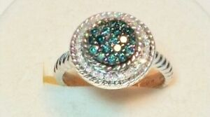 New Ring With Real White And Blue Diamonds 0 50ctw Size 7 25 Ebay