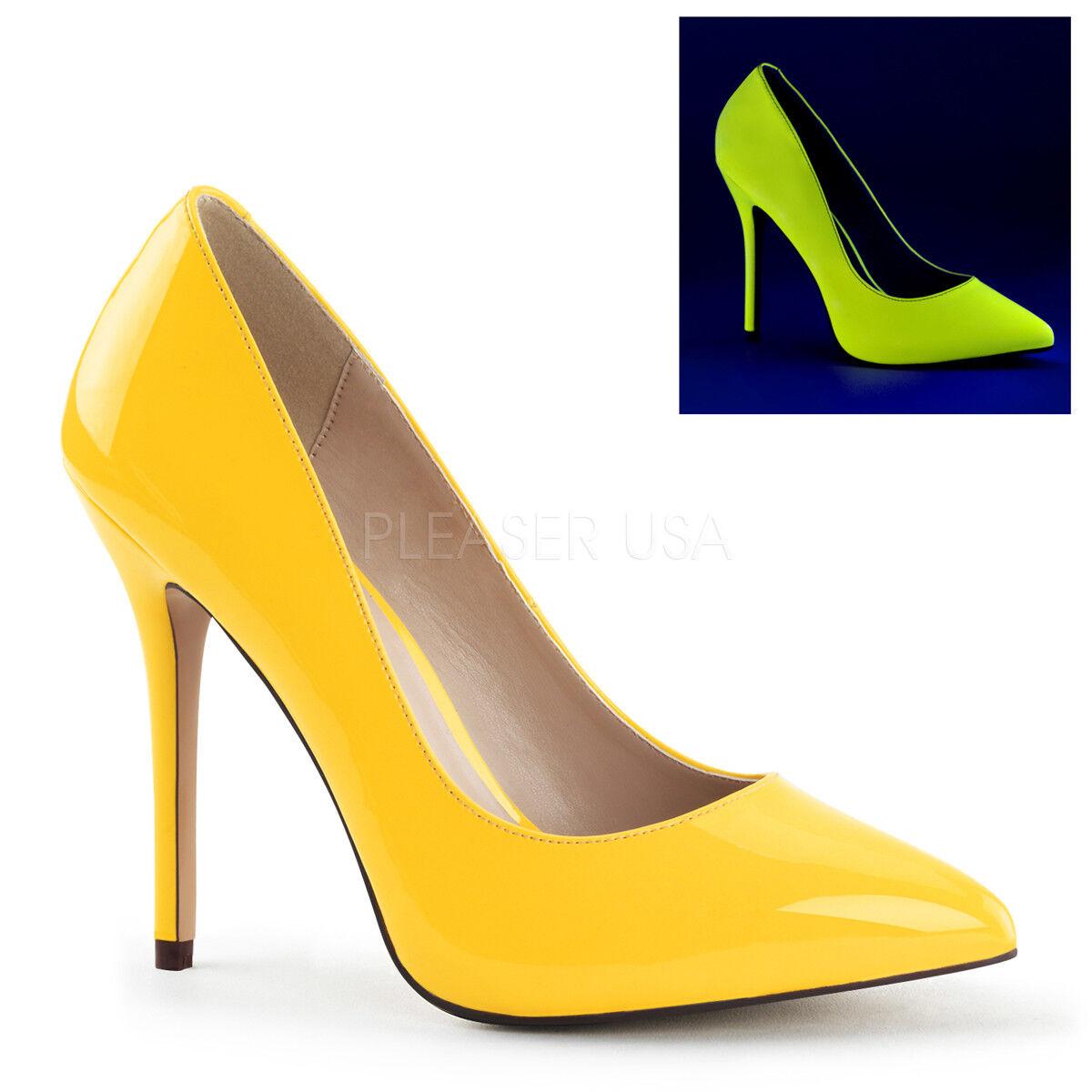 Pleaser AMUSE-20 Neon Gelb Patent 5  Heel Stilettos Stilettos Stilettos Basic High Heels Pumps 20bc76