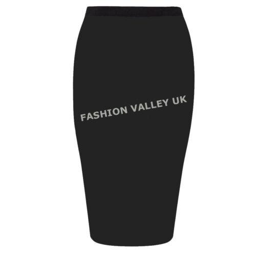 Ponte Lápiz Falda Negro para Mujer señoras Falda Midi Trabajo De Oficina además de los tamaños 8-20