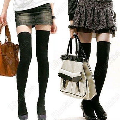 Women's Sexy Solid Color Over The Knee Stockings Hosiery Thigh-Highs Socks