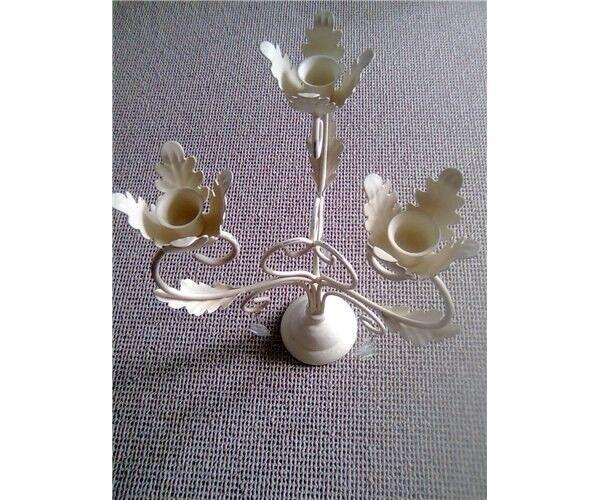 Romantisk hvid 3 armet lysestage