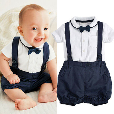 New Fashion Kids Baby Boys Gentleman Shirt+Overalls Pants+Bow Tie Set Outfits