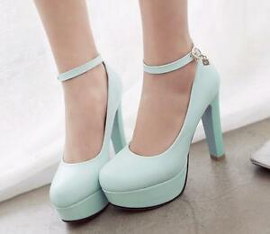 d2555397971 Hot Womens Ankle Strap Round Toe Platform High Thick Heel Court ...